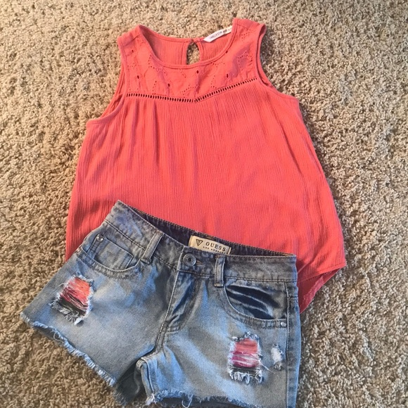 2 pieces! Girl's Guess Jean shorts and top, sz 8